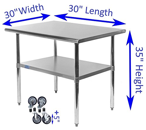 AmGood Stainless Steel Work Table - with Undershelf & Casters (Wheels) | Food Prep | Utility Work Station | NSF Certified | All Sizes (30