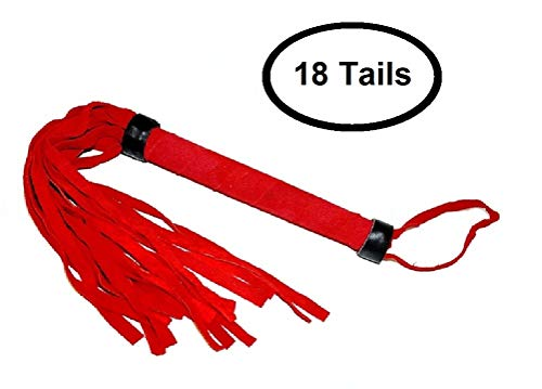 Suede Flogger Whip Crop 18 or 52 Soft Suede Tails, Extra Long Suede Covered Handle Black, Blue, Purple, Red, or Teal