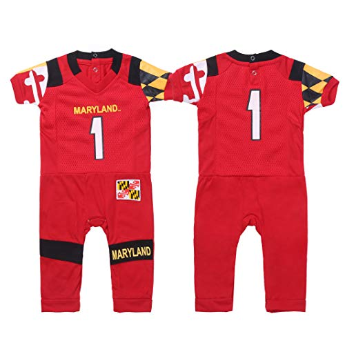 FAST ASLEEP NCAA Maryland Terrapins Boys Infant Football Uniform Pajamas, 6-9 Months, Red
