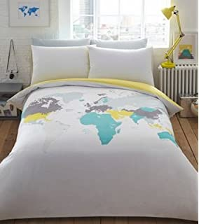 Printed duvet cover set soft extremely durable best quality ben de lisi home multicoloured printed world explorer bedding set double gumiabroncs Images