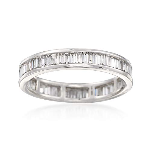 - Ross-Simons 1.00 ct. t.w. Baguette Diamond Eternity Band in 14kt White Gold