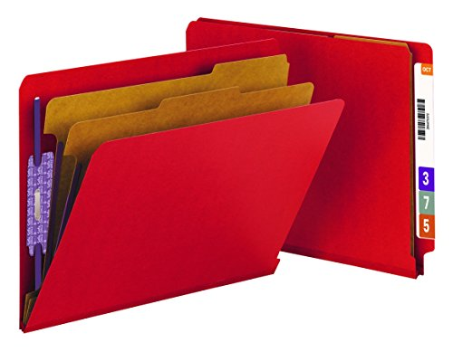 "Smead End Tab Pressboard Classification File Folder with SafeSHIELD Fasteners, 2 Dividers, 2"" Expansion, Letter Size, Bright Red, 10 per Box (26783)"