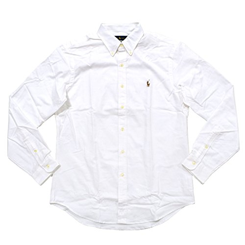 Ralph Lauren Polo Mens Stretch Oxford Slim Fit Sport Shirt, White, L