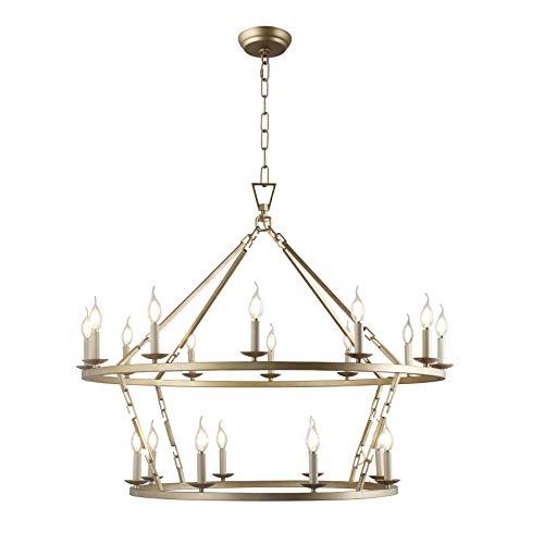 Decomust Chapman Large Two-Tiered Ringed Frame Chandelier Openwork Lantern Pendant Lamp Stairway Loft Entry Kitchen Hall Foyer Ceiling Fixture (Gold)