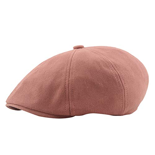 Flat Cap Unisex, NRUTUP Vintage Beret Hat in Macarons Solid Color, London Style, Autumn Winter Outdoor Cap for Sun Protection (Red, Free Size)