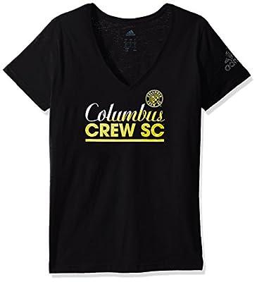 MLS Women's Slant Line Repeat Short Sleeve Slub V-Neck Tee