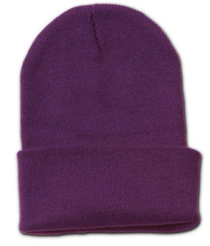 (Eforstore Plain Blank Long Cuff Beanie Cap Solid Winter Hat Knitted Hats Ski Caps for Men Women Teen Girls Boys Teens )