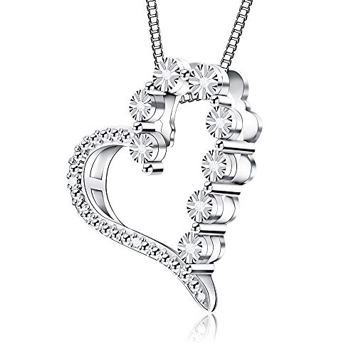 T-shirt Diamond Love - Jewlpire ♥Love Series♥ Sterling Silver Necklace Diamond Necklace Pendant 0.03CT - The Closest Gift to The Heart (Fall in Love)