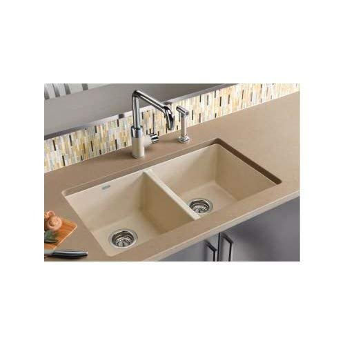 Blanco 516321 Precis 16-Inch Equal Double Bowl Sink, Biscuit