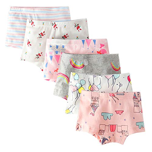 (Bossail Kids Soft Cotton Toddler Underwear 6-Pack Little Girls' Assorted Boyshort Panties (Comb1, 2-3 Years))