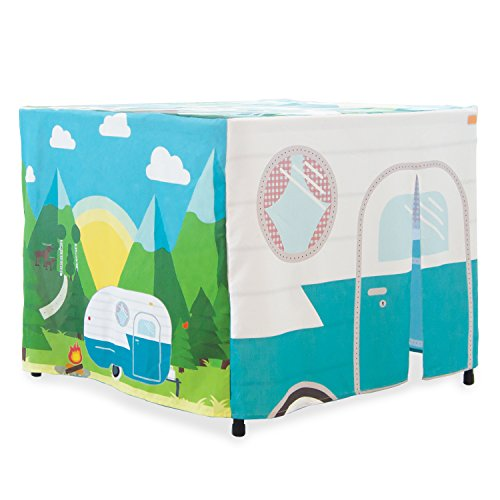 HIDEABOO Hideout Polyester Standard Card Table Cover Kids Fort, Happy (Happy Campers Costume)