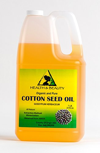 Cotton Seed Oil Organic Winterized Cold Pressed by H&B OILS CENTER Premium Natural 100% Pure 128 oz, 7 LB, 1 gal (Best Oil To Fry With)