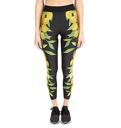 2018 New Women's Lemon Print Yoga Pants High Waist 4 Way Stretch Workout Leggings by E-Scenery (Yellow, (Over Print Pants Set)