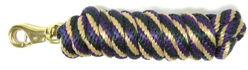 Hamilton Extra Heavy Poly Rope Lead with Bull Snap, Dark Green/Tan/Purple Striped Pattern Weave, 5/8