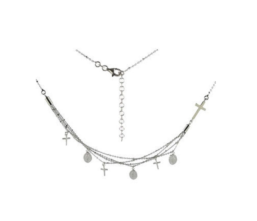 Rhodium Plated Sterling Silver Alternating Religious Charms Necklace 16''+ 2'' Extension
