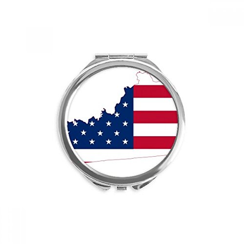 Kentucky USA Map Stars Stripes Flag Shape Mirror Round Portable Hand Pocket Makeup