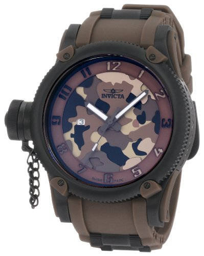 (Invicta Men's 1198 Russian Diver Brown Camouflage Dial Polyurethane Watch)