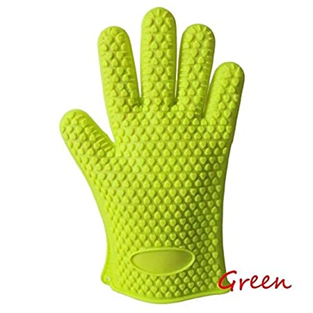 Generic Green: 1Pc Fashion Comfrotable Silicone Kitchen Dish Washing Heat Resistant Glove Oven Pot Holder Baking BBQ Cooking Gl