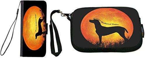 (Rikki Knight German Shorthaired Pointer Dog Silhouette by Moon Design iPhone 5C Premium PU Leather Wallet Type Flip Case with Matching Neoprene Clutch Wristlet)