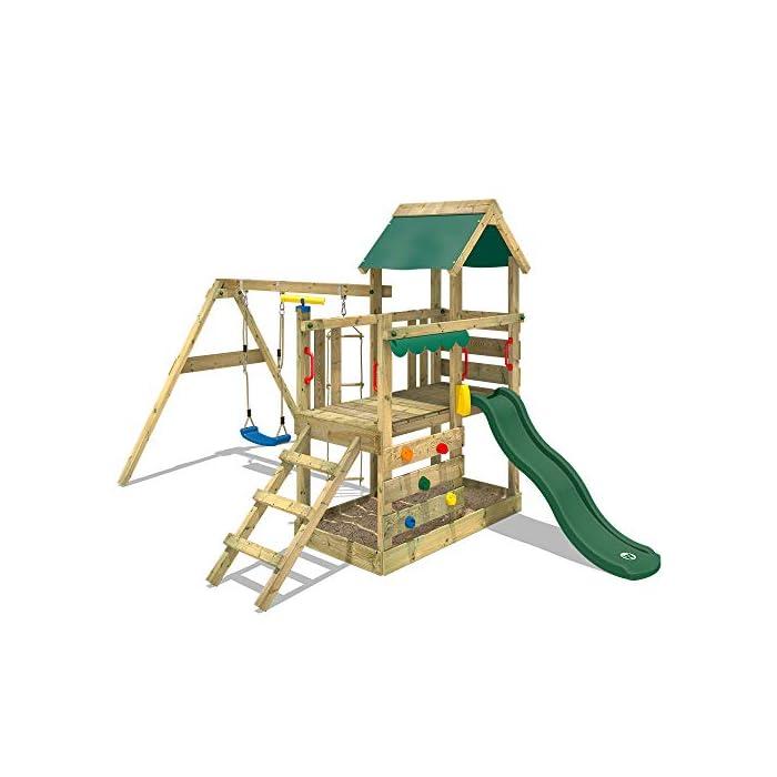 41dWhGLl9hL WICKEY Torre de escalade con columpio y tobogán - Calidad y seguridad aprobada - Varias opciones de montaje Madera maciza impregnada a presión - Poste 9x4,5cm - Poste de columpio 9x9cm - Cajón de arena integrado Instrucciones de montaje detalladas - Muro para trepar - Todos los tornillos necesarios - Toldo