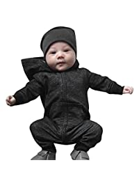 Toddler Jumpsuit Clothes,Matoen Baby Boys Girls Solid Zip Long Sleeve Hoodie Romper