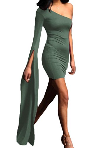 Women Green Coolred Color One Skinny Short Sexy Army Dress Sleeves Pure Shoulder fHHdrq