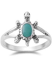 Sterling Silver Women's Simulated Turquoise Cutout Turtle Ring (Sizes 5-9)