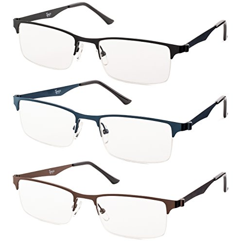 Metal Half Rimmed Reading Glasses (Black, Brown, Blue)Includes-Case and Cleaning Cloth +1.75 - Case Novelty Glasses