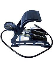 Cyclehero Voetpomp met dubbele cilinder, voetpomp voor alle ventielen, krachtige luchtpomp met manometer tot 10 bar voor veelzijdig gebruik