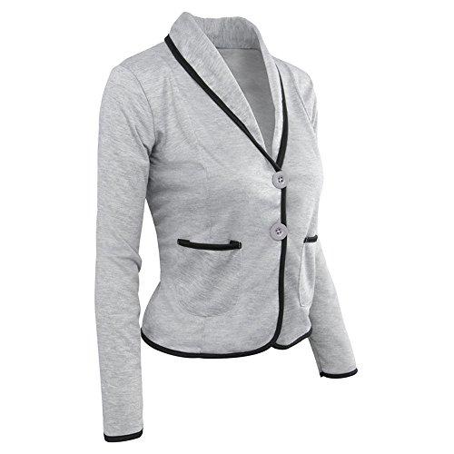 T Tops Giacca Shirt Sportiva Elegante di Vendita Maniche Autunno ❀❀ da Casual Camicie Giacca Business Camicette Grigio Capispalla Lunghe Blazer Liquidazione Felpa pRnPX