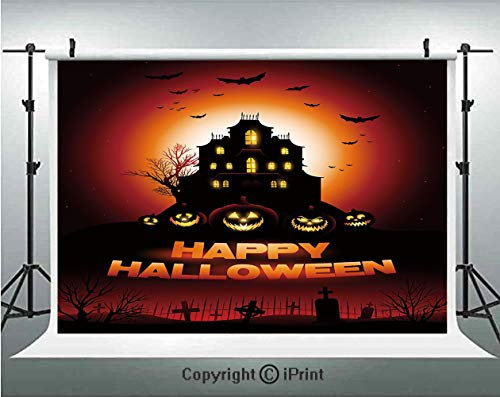 Halloween Photography Backdrops Happy Halloween Haunted House Flying Bats Scary Looking Pumpkins Cemetery Decorative,Birthday Party Background Customized Microfiber Photo Studio Props,5x3ft,Black Oran -