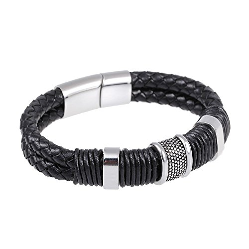 NELSON KENT Men's Layered Wrap Braided Leather Bracelet Stainless Stee Circle with Charm Magnetic Clasp