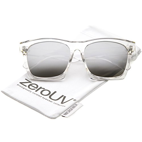 zeroUV - Modern Square Color Mirrored Flat Lens Horn Rimmed Sunglasses 54mm (Clear/Silver ()