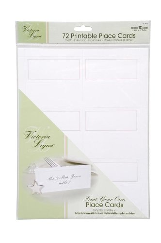 Darice VL3473, 72-Count Place Cards, 12 Sheets, White
