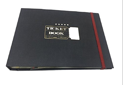 "Classy Ticket Stub Diary Ticket Book, Deco Sticker and notepads are included, Ticket Organizer Ticket Keepsake book Scrapbooking Scrapbook Photo Album, Hidden Wire Bound, 10""x7.5""x1.1"" (Navy)"