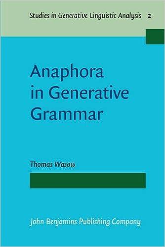 amazon anaphora in generative grammar studies in generative