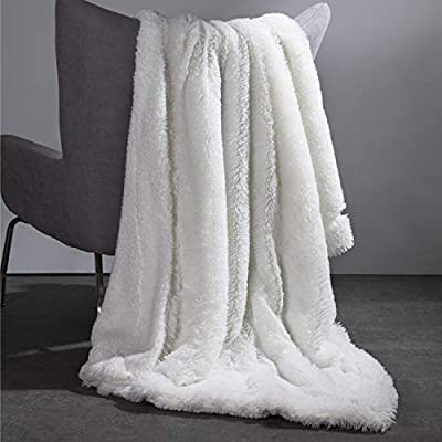 "Bedsure Super Soft Fuzzy Faux Fur Shaggy Blanket Throw Reversible Sherpa Fleece Shag Throw Blanket for Sofa, Couch and Bed - Warm Thick Fluffy Blanket as Gift,Plush Furry Throw (50x60 inches, White) - FEEL THE DIFFERENCE: Completely animal friendly, Bedsure Throw Blanket features luxuriously high grade faux fur that emulates the texture of real fur to wrap you up in a sumptuous softness - Super plush and cozy, our blankets WON'T shed/leave lint at all like other furry blankets - Exquisite design and decent weight, you need to feel it to believe it! CLASSY & ELEGANT: Carefully crafted with 1.5"" thick faux fur on the top side and smooth fleece on the backside, our blanket will take your home decor to a whole new level - Perfect accent piece to your living room, bedroom or balcony as a throw for couch or bed - Delightfully warm and cuddly, blankets add subtle sophistication to cozy days all year round. VERSATILE USAGES: Versatile throw blankets are perfect for cuddling up with your significant ones with a cup of coffee in the chilly theater, park or any sitting area - Protect your couch from the pets' fur, nails & claws - 380GSM blanket is easy to travel with or take with you on car rides - Wonderful gifts for your animal friends for any occasion. - blankets-throws, bedroom-sheets-comforters, bedroom - 41dWiri4O L. SS400  -"
