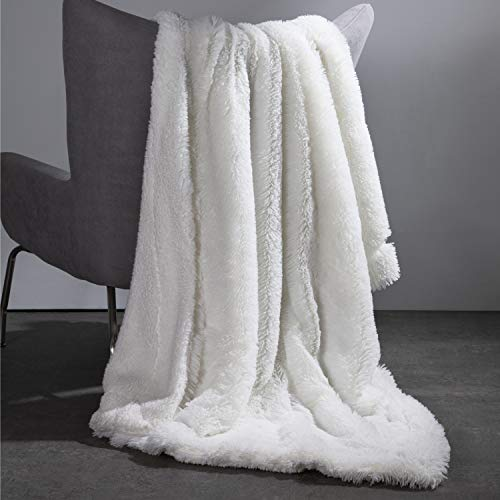 Bedsure Faux Fur Reversible Sherpa Throw Blanket for Sofa, Couch and Bed - Super Soft Fuzzy Fleece Blanket for Outdoor, Indoor, Camping, Gifts (50x60 inches, White) (Blankets White)