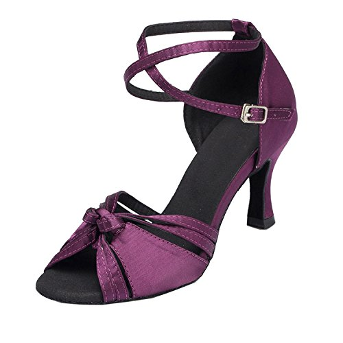 Cross Wedding TH115 Knot Ballroom Strap Taogo Latin Ladies Dance Purple Minitoo Satin Sandals Eqt5AwY1x