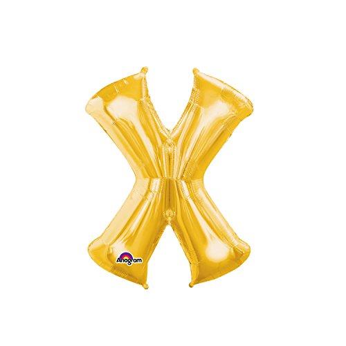 Regina 106492.4, Balão Metalizado Super Shape Letra X Pack, Dourado