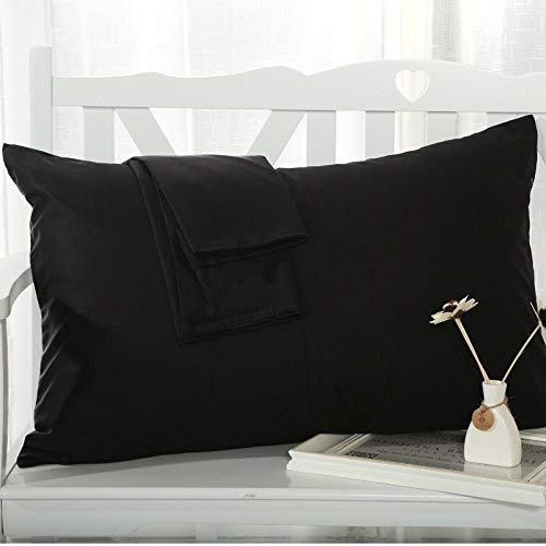 Om Bedding Collection Travel Pillowcase 12X16 500 Thread Count Egyptian Cotton Set of 2 Toddler Pillowcase with Zipper Closer Black Solid with 100% Egyptian Cotton (Toddler Travel 12X16 Black Solid)