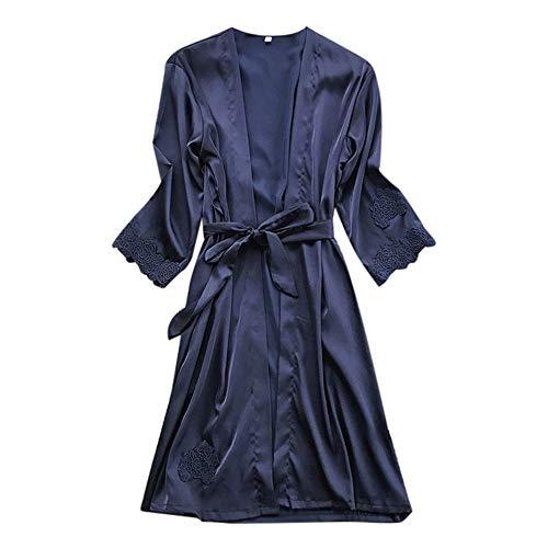 Trim Cross Criss Dress (Dressin Womens Sleepwear Silk Dressing Gown Dress Solid Lace Trim Babydoll Nightdress Sleepwear Kimono)