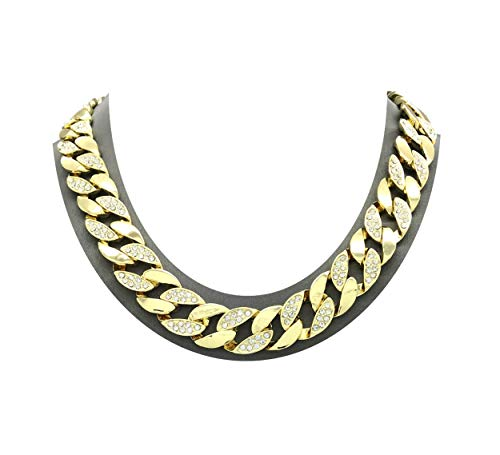 Mens Iced Out Hip Hop Gold tone CZ Miami Cuban Link Chain 15mm 8