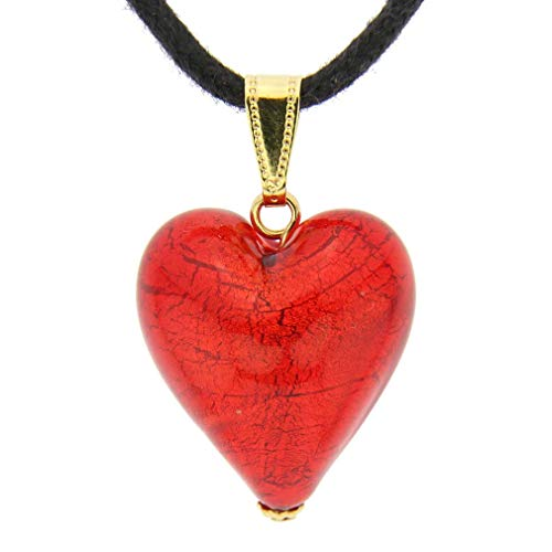 GlassOfVenice Murano Glass Heart Pendant - Fire Red ()