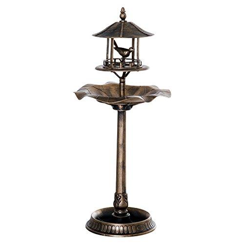 Outsunny 3-in-1 Resin Outdoor Pedestal Bird Bath Feeder Planter - Bronze (Resin Planter Bronze)