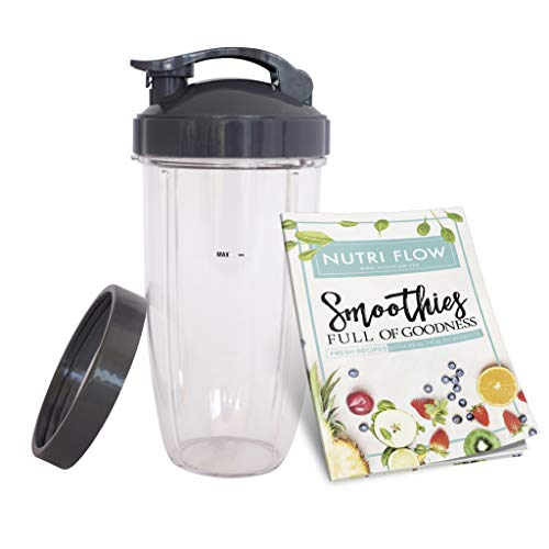 Cup for NUTRIBULLET 32 oz. Tall Colossal Cup with Flip Top + FREE Lip Ring & EXCLUSIVE Smoothie RECIPE Booklet by Nutri Flow - for Nutri Bullet 600 Blender & Nutri-Bullet 900 Mixer -  COMINHKPR110242