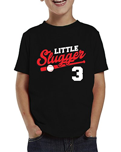 SpiritForged Apparel Little Slugger 3 Year Old Toddler T-Shirt, Black 4T