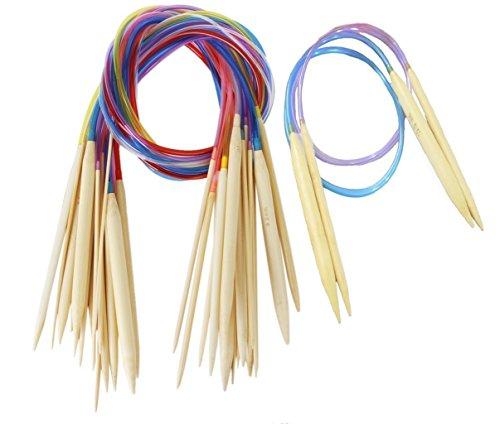 Knit Needle Size - Seawhisper 20 Sizes Circular Knitting Needles Bamboo 2.0mm-12.0mm 80cm with Colored Plastic Tube (US needle size 0-17)