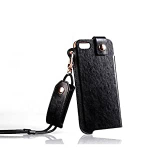GHK - High-end PU Leather Case With Lanyard for iPhone 5/5S , Black