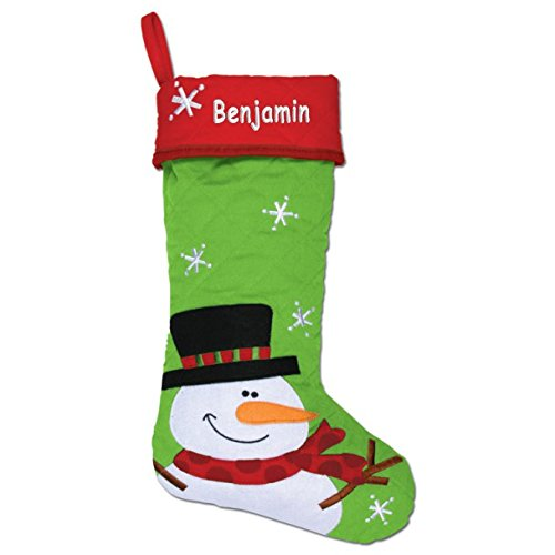 Personalized Snowman Quilted Christmas (Personalized Snowman Christmas Stocking)
